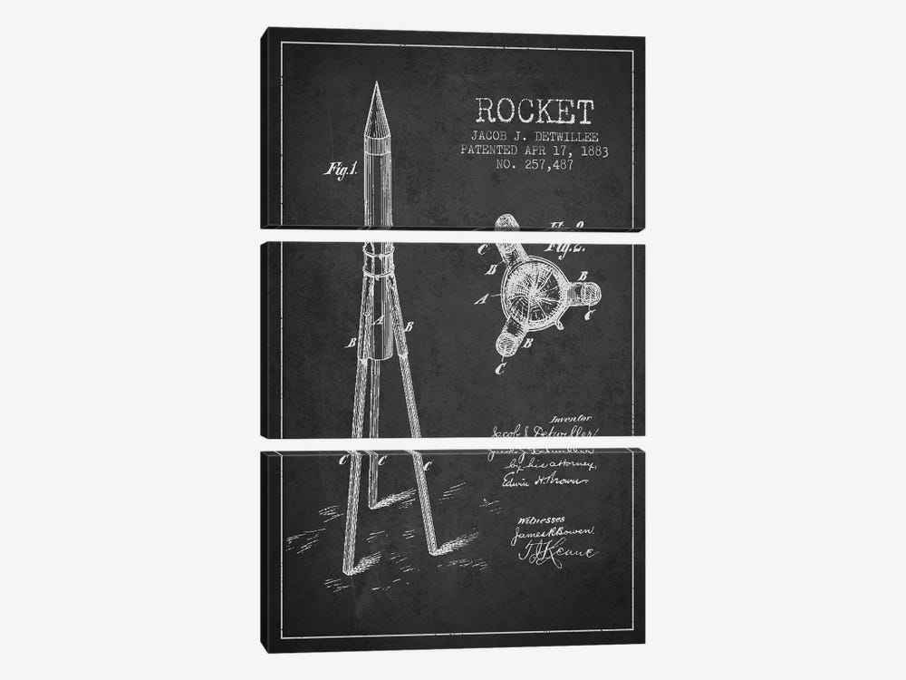 Jacob J. Detwillee Rocket Patent Sketch (Charcoal) by Aged Pixel 3-piece Art Print