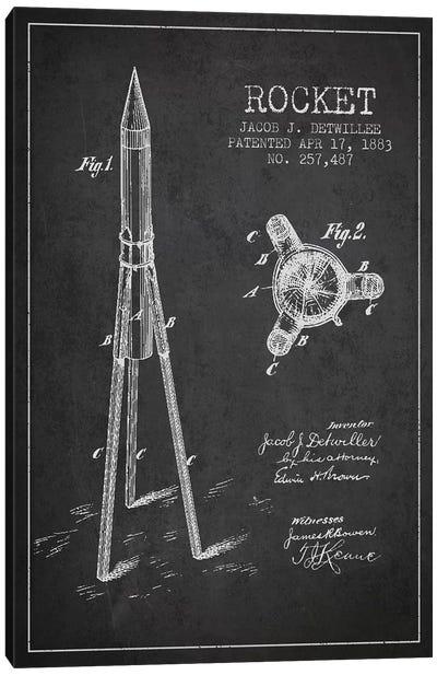 Jacob J. Detwillee Rocket Patent Sketch (Charcoal) Canvas Art Print