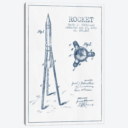 Jacob J. Detwillee Rocket Patent Sketch (Ink) Canvas Print #ADP2991} by Aged Pixel Canvas Wall Art