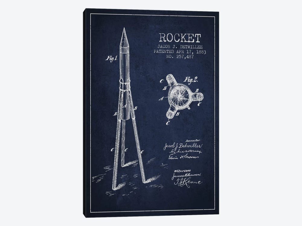 Jacob J. Detwillee Rocket Patent Sketch (Navy Blue) by Aged Pixel 1-piece Canvas Print