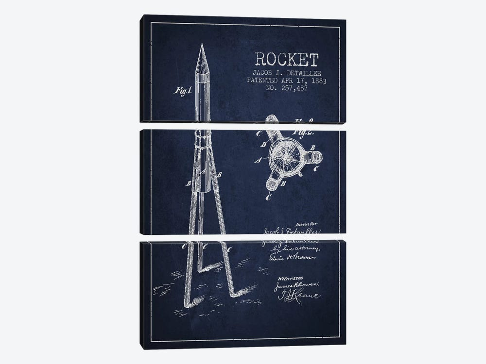 Jacob J. Detwillee Rocket Patent Sketch (Navy Blue) by Aged Pixel 3-piece Art Print