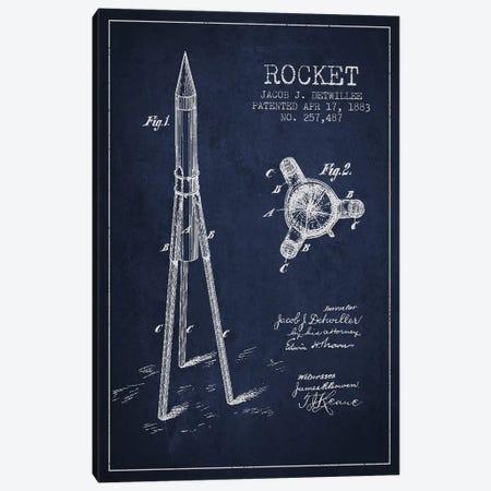 Jacob J. Detwillee Rocket Patent Sketch (Navy Blue) Canvas Print #ADP2992} by Aged Pixel Canvas Art