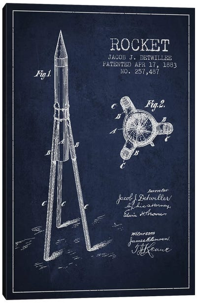 Jacob J. Detwillee Rocket Patent Sketch (Navy Blue) Canvas Art Print