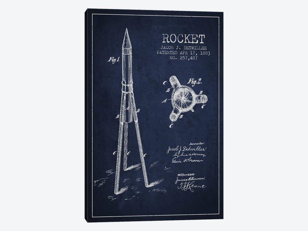 Jacob J. Detwillee Rocket Patent Sketch (Navy Blue) by Aged Pixel 1-piece Canvas Print