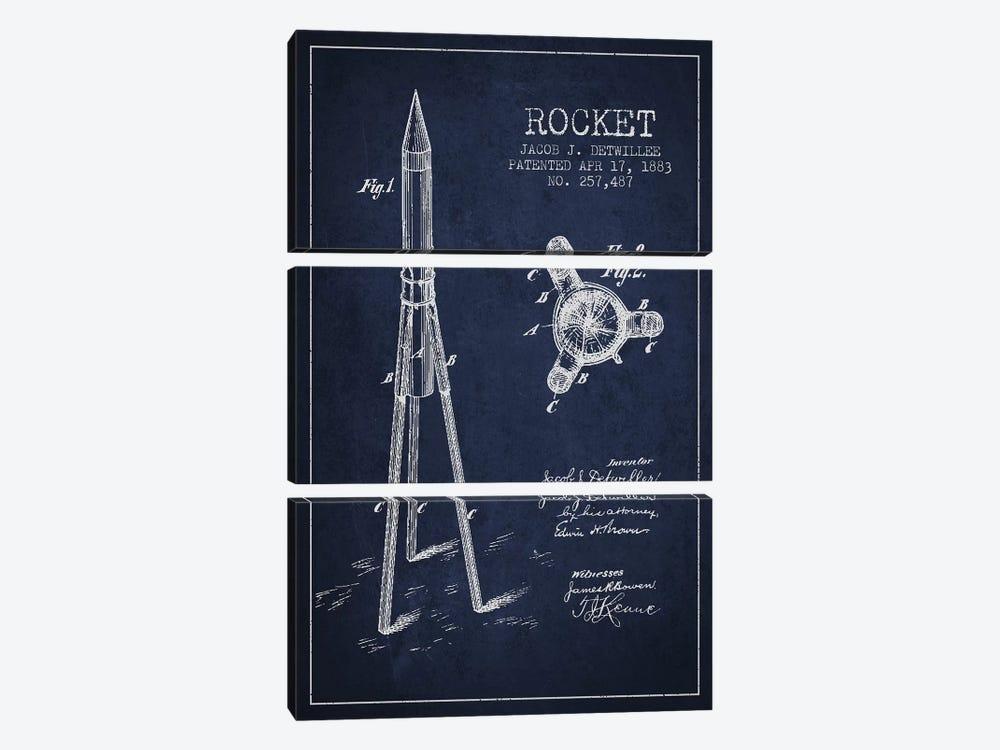 Jacob J. Detwillee Rocket Patent Sketch (Navy Blue) by Aged Pixel 3-piece Art Print