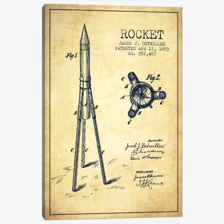 Jacob J. Detwillee Rocket Patent Sketch (Vintage) Canvas Print #ADP2993} by Aged Pixel Canvas Wall Art