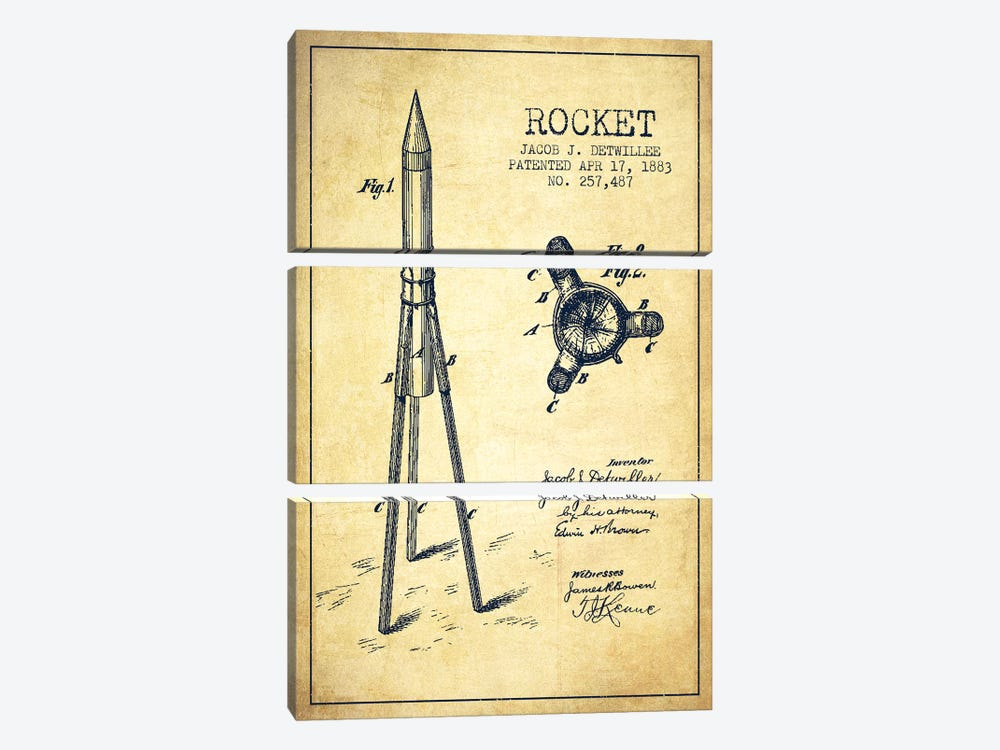 Jacob J. Detwillee Rocket Patent Sketch (Vintage) by Aged Pixel 3-piece Canvas Art