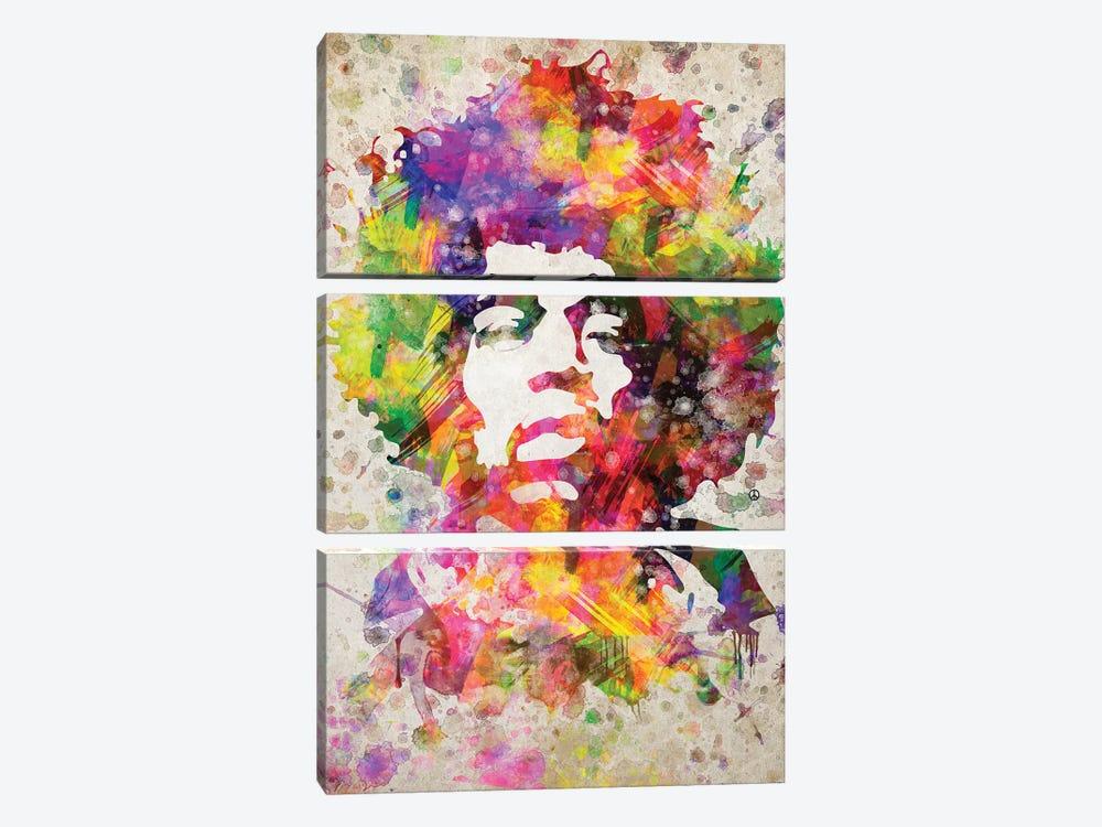 Jimi Hendrix by Aged Pixel 3-piece Canvas Artwork