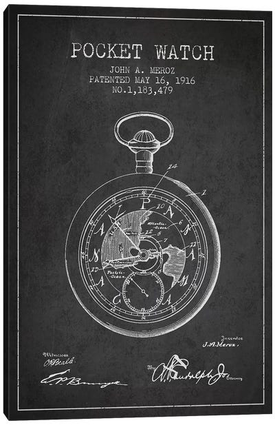John A. Meroz Pocket Watch Pattern Sketch (Charcoal) Canvas Art Print