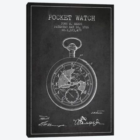 John A. Meroz Pocket Watch Pattern Sketch (Charcoal) Canvas Print #ADP2996} by Aged Pixel Canvas Print