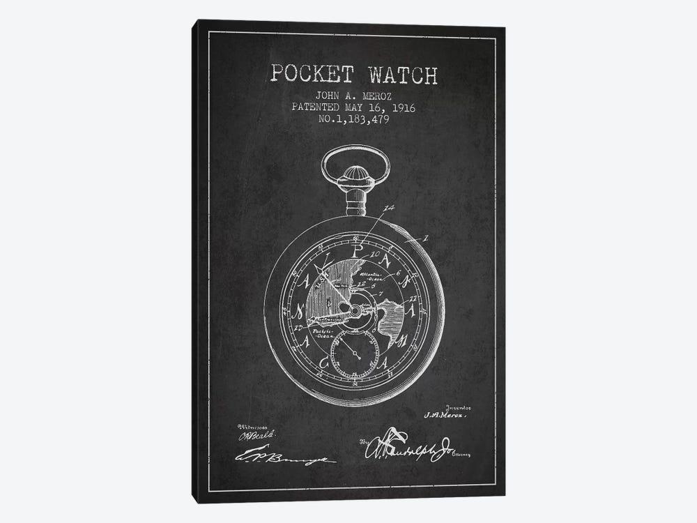 John A. Meroz Pocket Watch Pattern Sketch (Charcoal) by Aged Pixel 1-piece Art Print