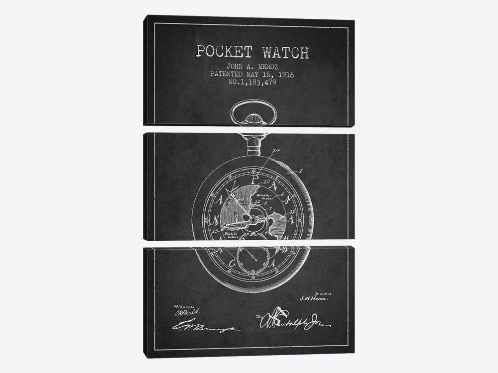 John A. Meroz Pocket Watch Pattern Sketch (Charcoal) by Aged Pixel 3-piece Art Print