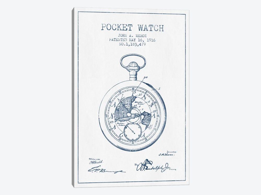 John A. Meroz Pocket Watch Pattern Sketch (Ink) by Aged Pixel 1-piece Canvas Wall Art