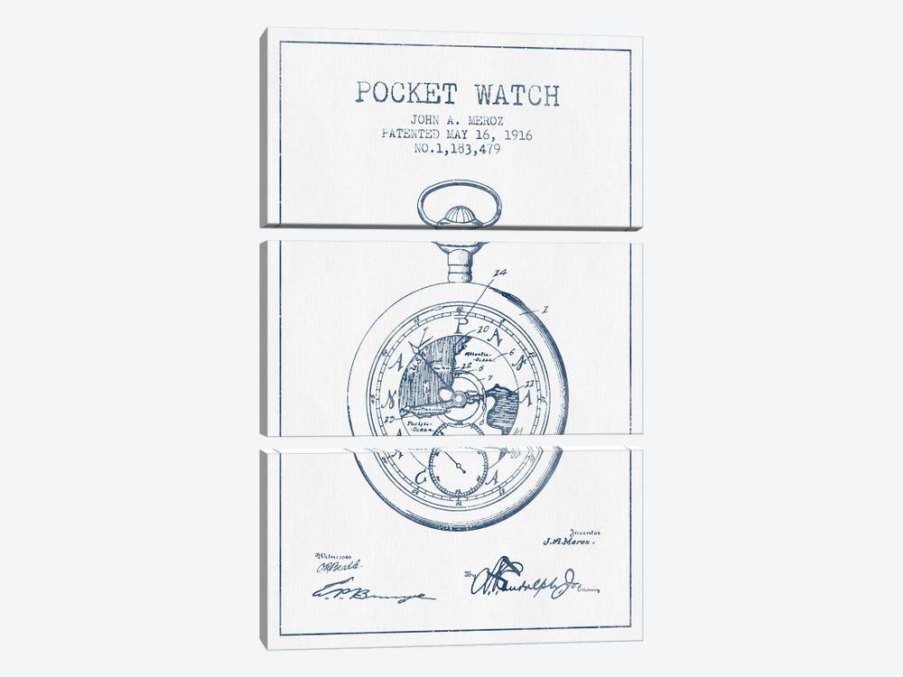 John A. Meroz Pocket Watch Pattern Sketch (Ink) by Aged Pixel 3-piece Canvas Wall Art