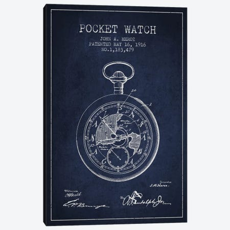 John A. Meroz Pocket Watch Pattern Sketch (Navy Blue) Canvas Print #ADP2998} by Aged Pixel Canvas Artwork