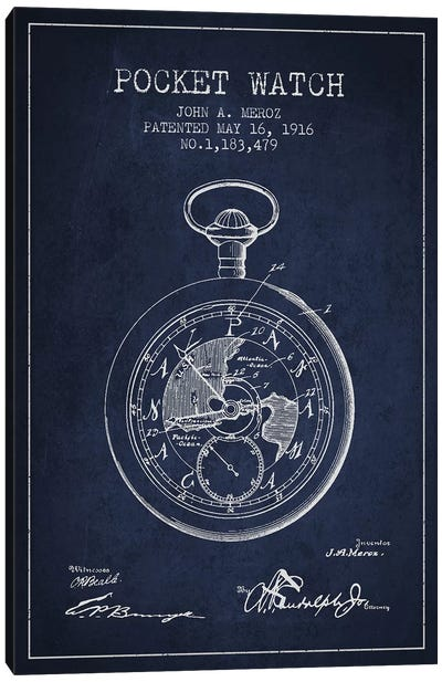 John A. Meroz Pocket Watch Pattern Sketch (Navy Blue) Canvas Art Print