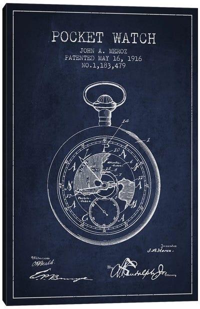 John A. Meroz Pocket Watch Pattern Sketch (Navy Blue) Canvas Art Print