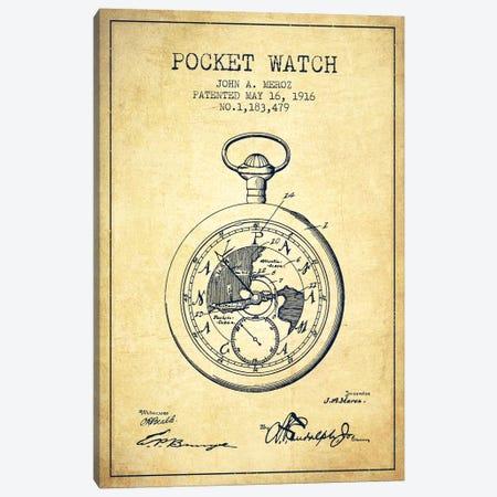 John A. Meroz Pocket Watch Pattern Sketch (Vintage) Canvas Print #ADP2999} by Aged Pixel Canvas Wall Art