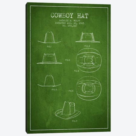 Cowboy Hat Green Patent Blueprint Canvas Print #ADP299} by Aged Pixel Canvas Artwork