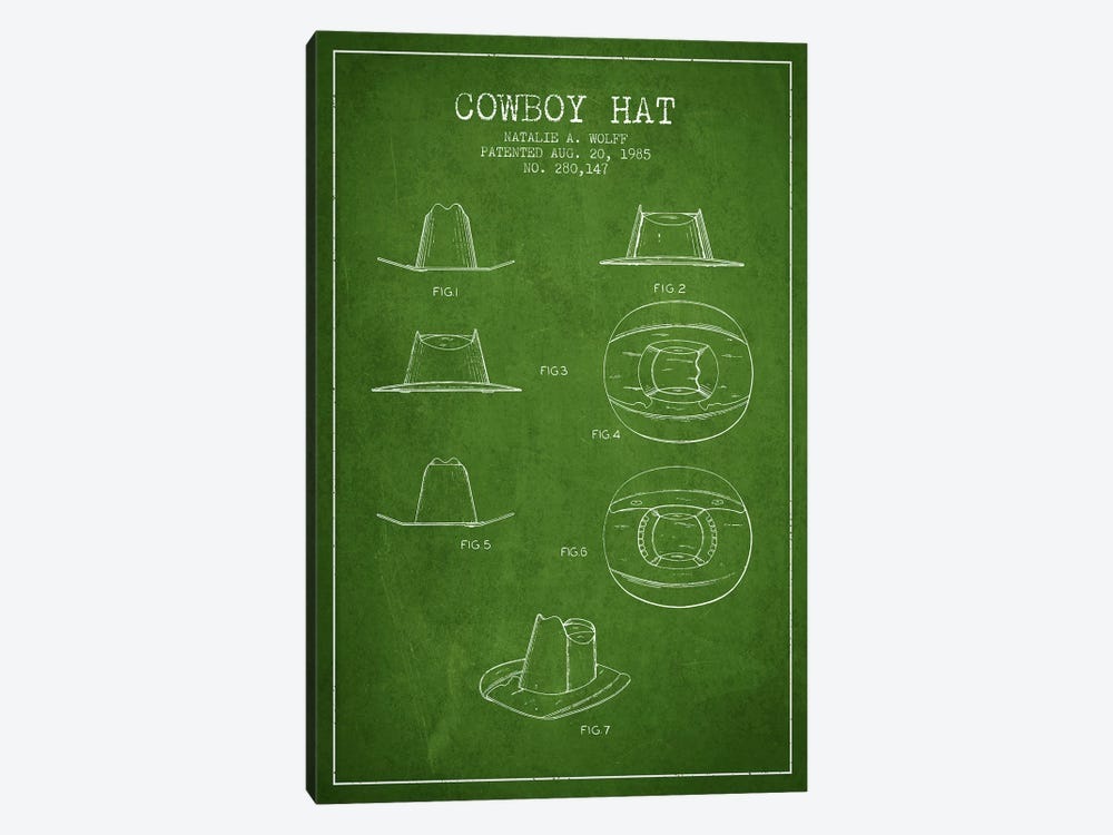 Cowboy Hat Green Patent Blueprint by Aged Pixel 1-piece Canvas Wall Art