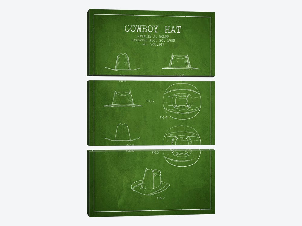 Cowboy Hat Green Patent Blueprint by Aged Pixel 3-piece Canvas Wall Art