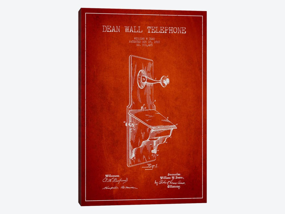 Wall Telephone Red Patent Blueprint by Aged Pixel 1-piece Canvas Art