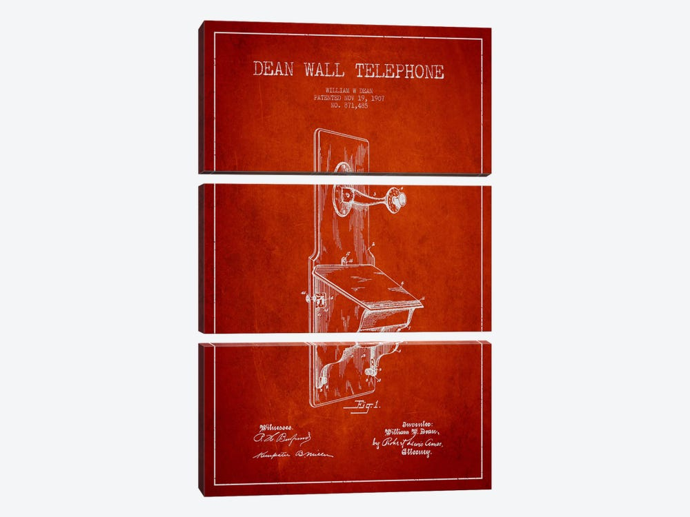 Wall Telephone Red Patent Blueprint by Aged Pixel 3-piece Canvas Art