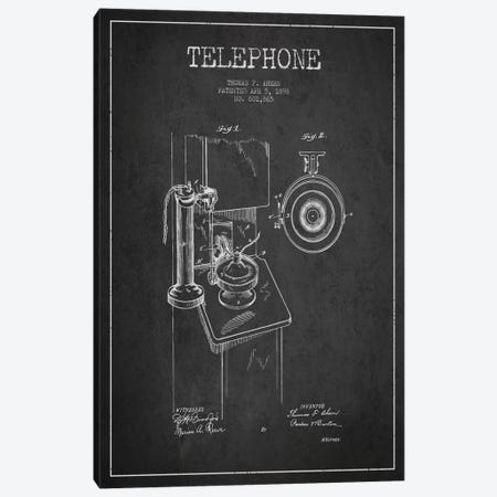 Ahern Telephone Dark Patent Blueprint Canvas Print #ADP2} by Aged Pixel Art Print