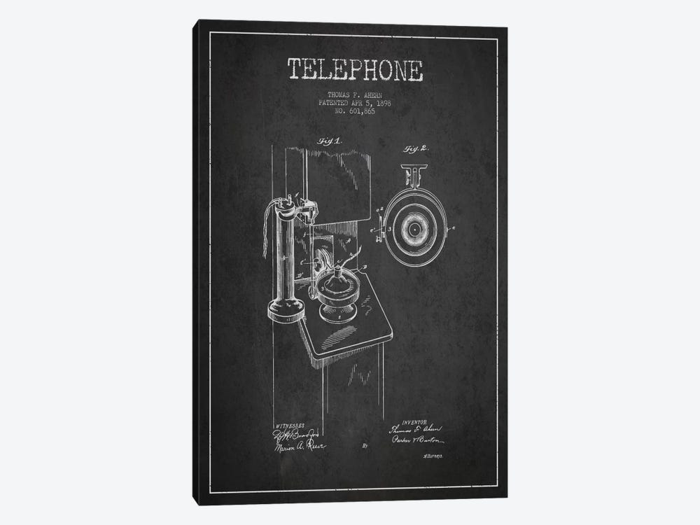 Ahern Telephone Dark Patent Blueprint by Aged Pixel 1-piece Canvas Artwork