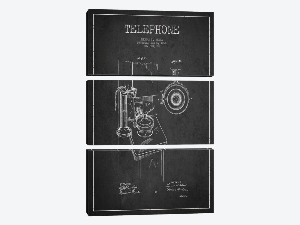 Ahern Telephone Dark Patent Blueprint by Aged Pixel 3-piece Canvas Art