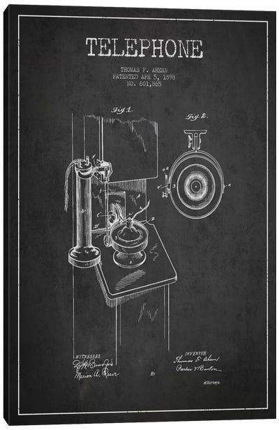 Ahern Telephone Dark Patent Blueprint Canvas Art Print