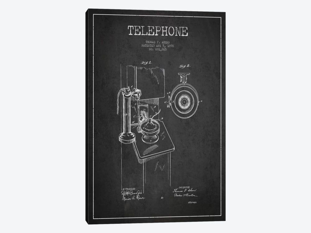 Ahern Telephone Dark Patent Blueprint by Aged Pixel 1-piece Canvas Artwork