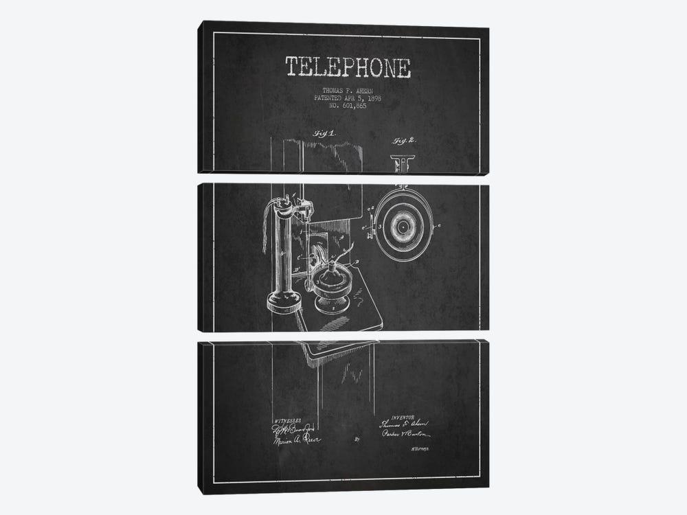 Ahern Telephone Dark Patent Blueprint by Aged Pixel 3-piece Canvas Art