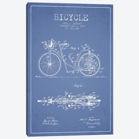 John C. Raymond Bicycle Patent Sketch (Light Blue) Canvas Print #ADP3000} by Aged Pixel Canvas Print