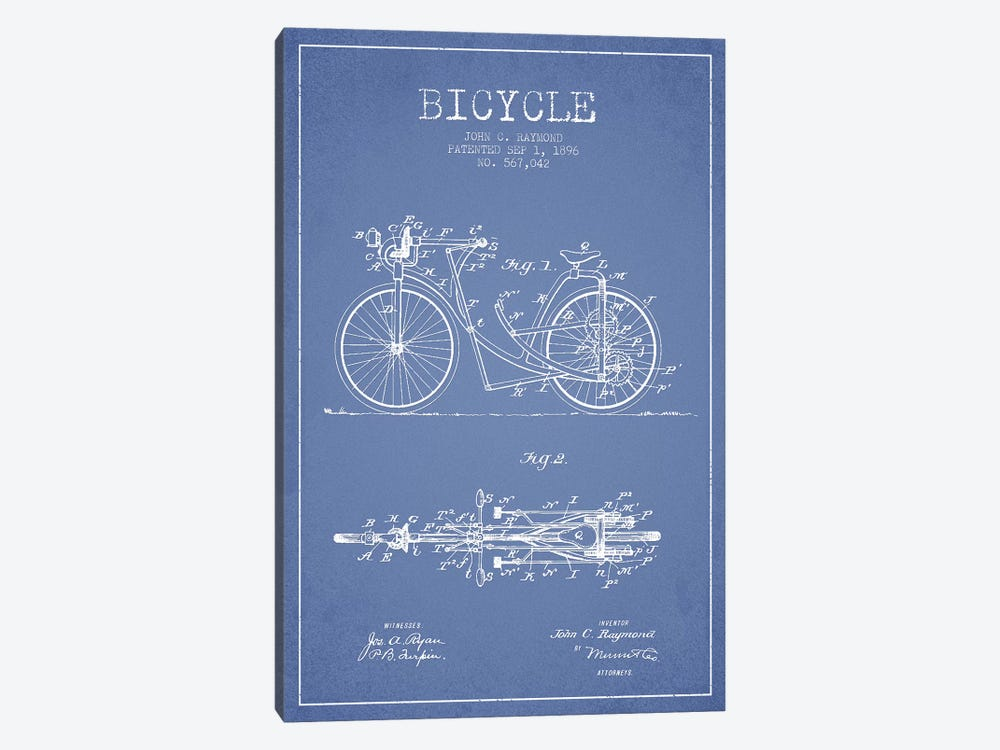John C. Raymond Bicycle Patent Sketch (Light Blue) by Aged Pixel 1-piece Canvas Art