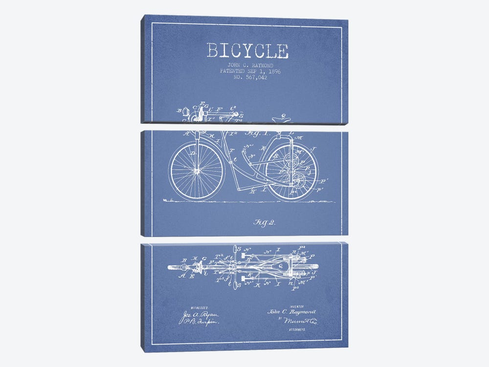 John C. Raymond Bicycle Patent Sketch (Light Blue) by Aged Pixel 3-piece Canvas Art