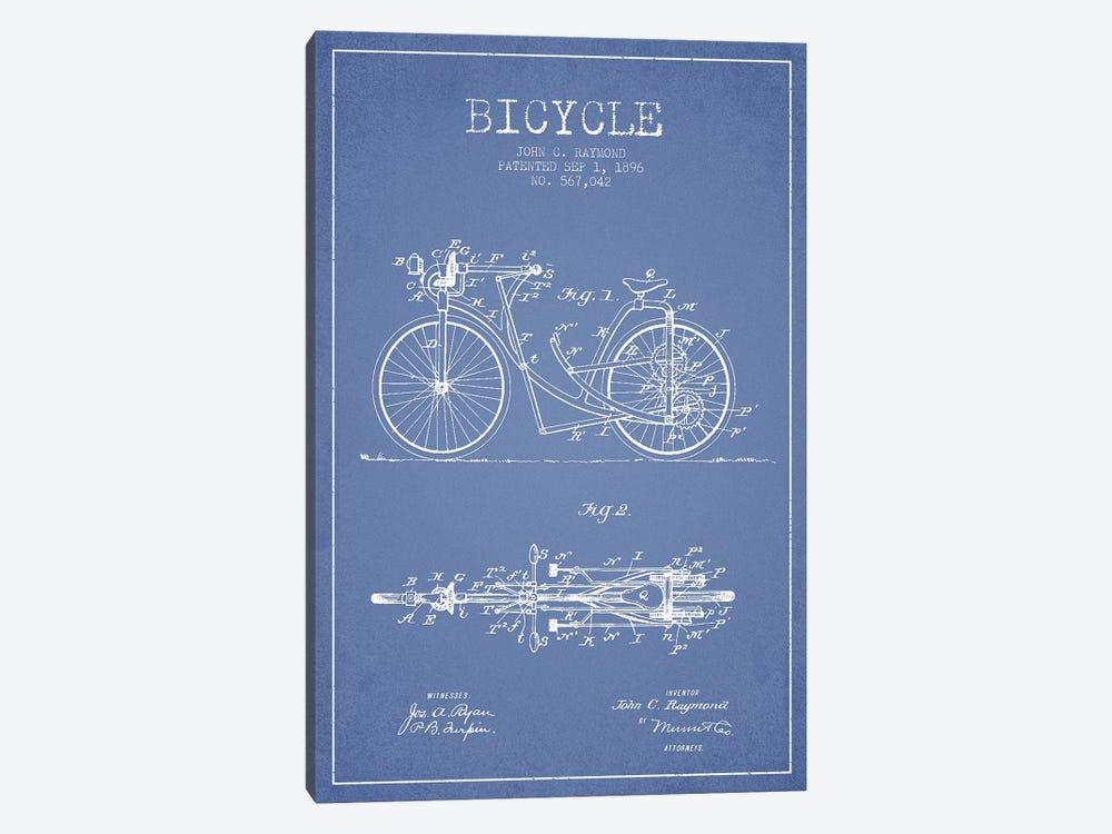 John C. Raymond Bicycle Patent Sketch (Light Blue) by Aged Pixel 1-piece Canvas Art