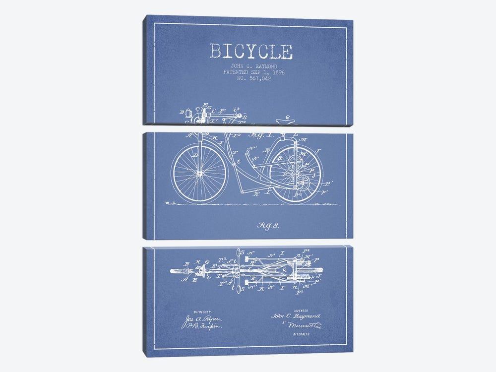 John C. Raymond Bicycle Patent Sketch (Light Blue) by Aged Pixel 3-piece Canvas Art
