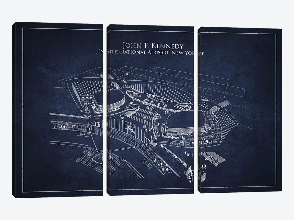 John F. Kennedy International Airport, New York by Aged Pixel 3-piece Canvas Art Print