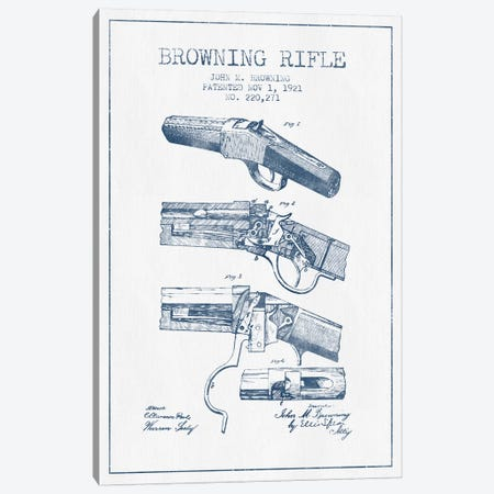 John M. Browning Rifle Patent Sketch (Ink) Canvas Print #ADP3003} by Aged Pixel Canvas Print