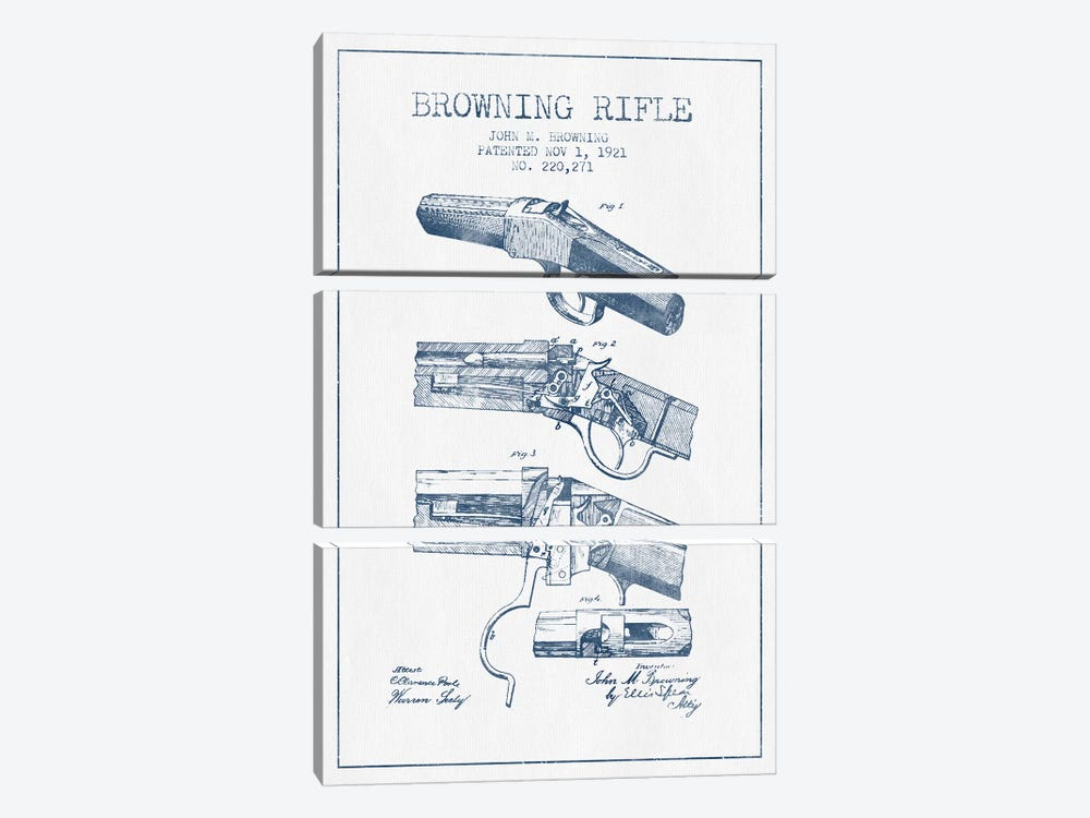 John M. Browning Rifle Patent Sketch (Ink) by Aged Pixel 3-piece Canvas Print