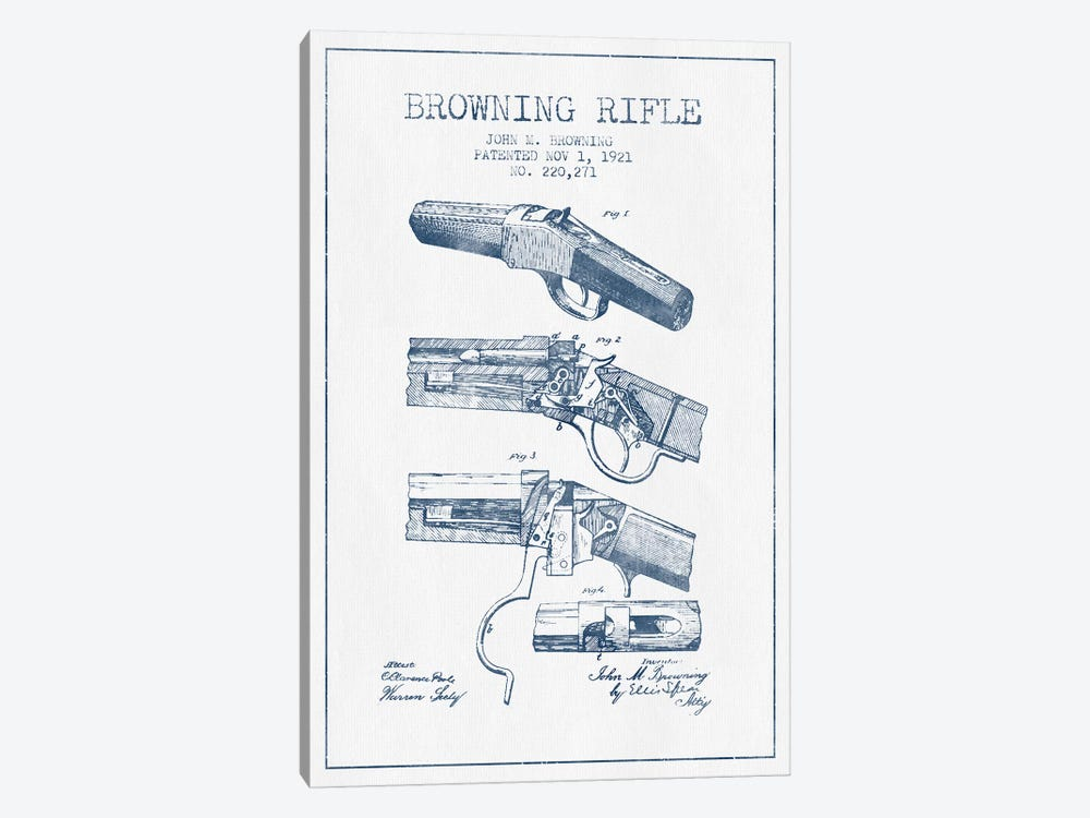 John M. Browning Rifle Patent Sketch (Ink) by Aged Pixel 1-piece Canvas Art Print