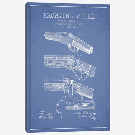 John M. Browning Rifle Patent Sketch (Light Blue) Canvas Print #ADP3004} by Aged Pixel Canvas Wall Art