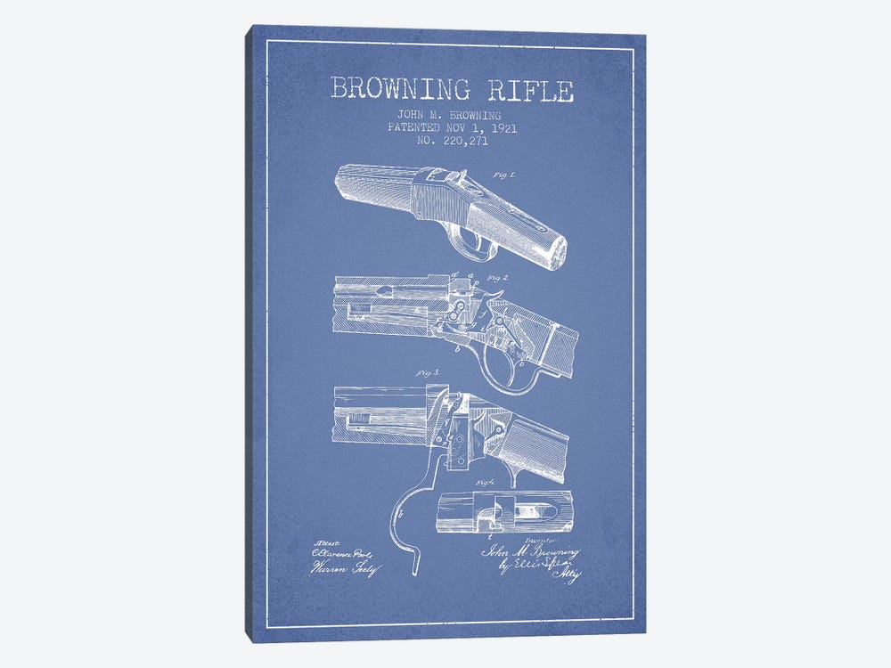 John M. Browning Rifle Patent Sketch (Light Blue) by Aged Pixel 1-piece Canvas Art