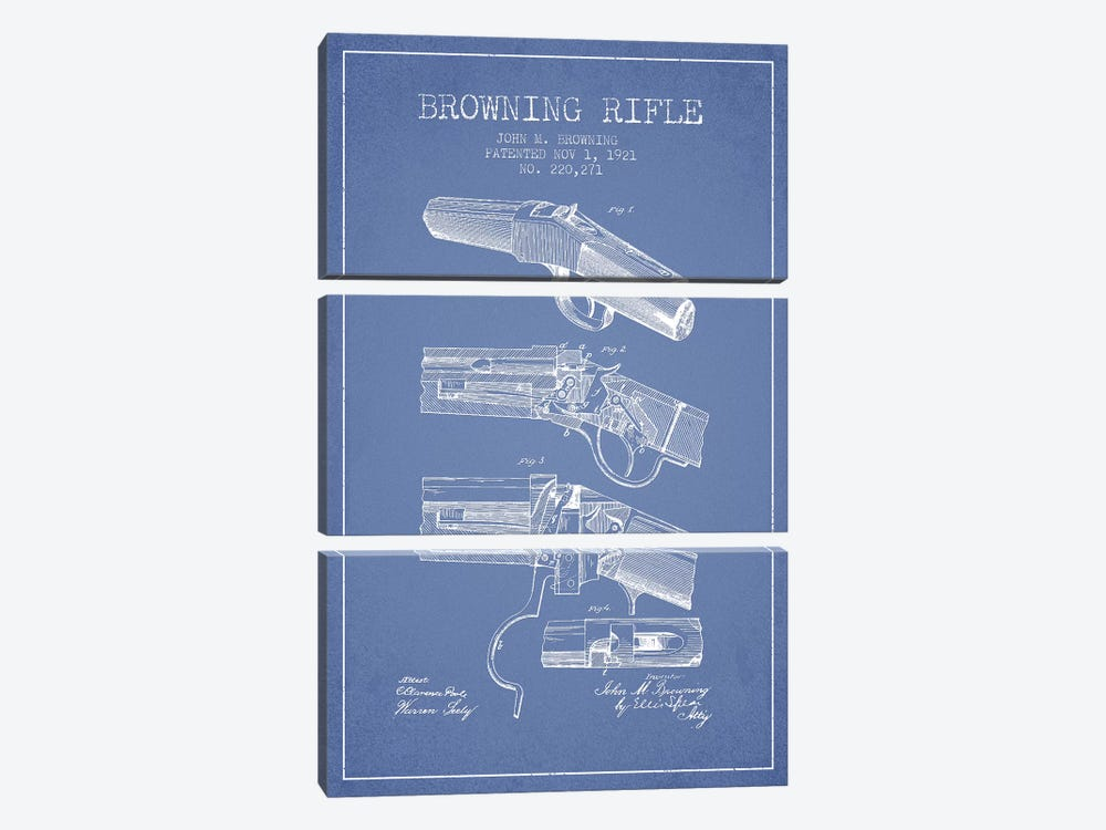 John M. Browning Rifle Patent Sketch (Light Blue) by Aged Pixel 3-piece Canvas Art