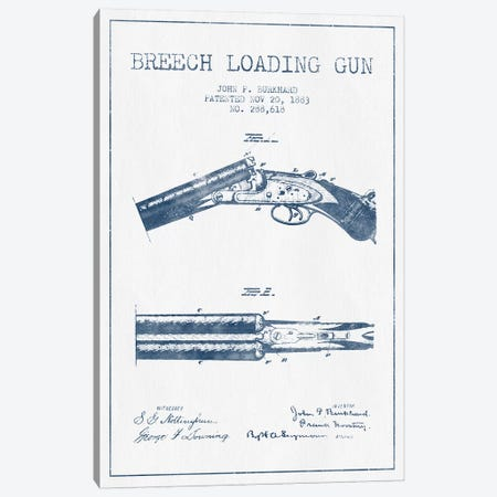 John P. Burkhard Breech Loading Gun Patent Sketch (Ink) Canvas Print #ADP3006} by Aged Pixel Canvas Wall Art