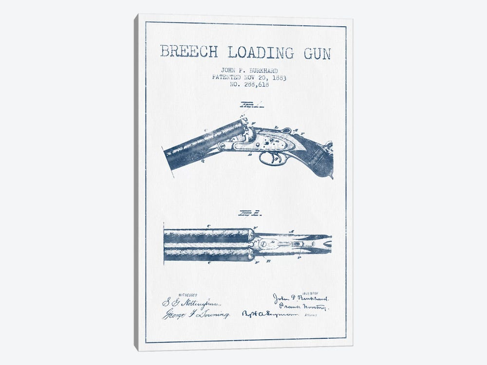 John P. Burkhard Breech Loading Gun Patent Sketch (Ink) by Aged Pixel 1-piece Canvas Artwork