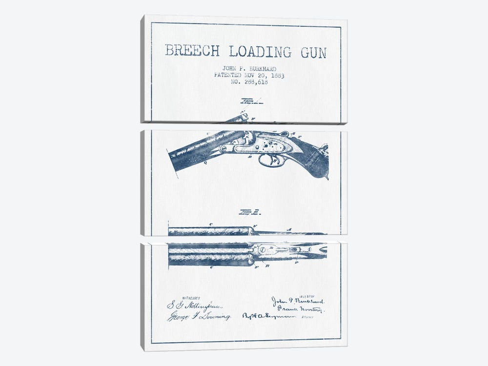 John P. Burkhard Breech Loading Gun Patent Sketch (Ink) by Aged Pixel 3-piece Canvas Wall Art