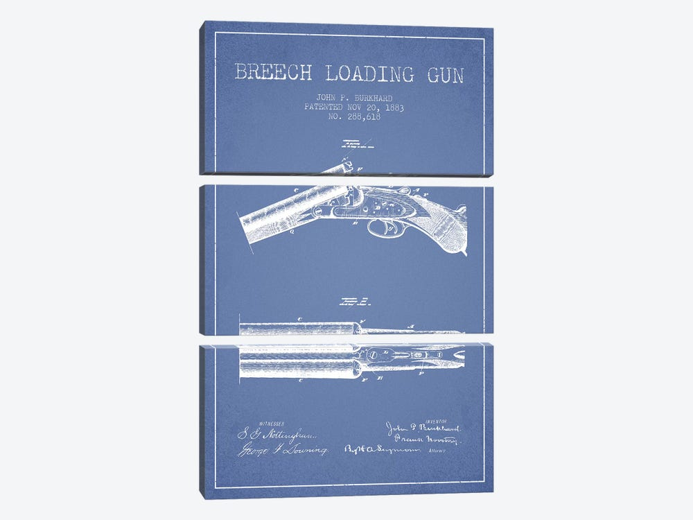 John P. Burkhard Breech Loading Gun Patent Sketch (Light Blue) by Aged Pixel 3-piece Canvas Art Print