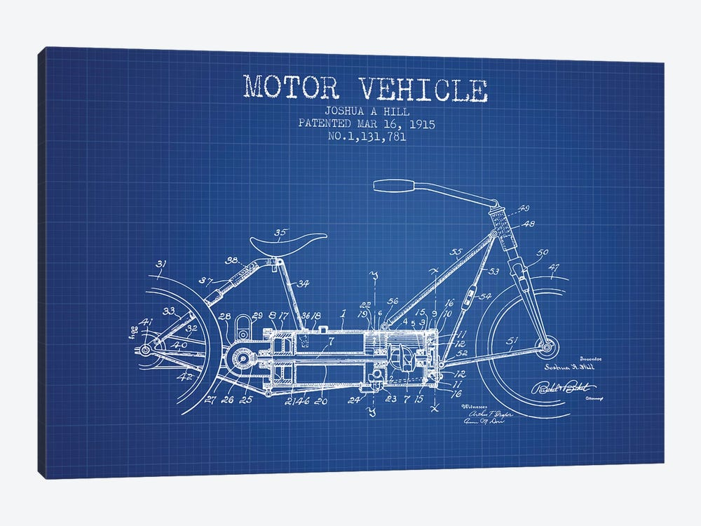 Joshua A. Hill Motor Vehicle Patent Sketch (Blue Grid) by Aged Pixel 1-piece Canvas Print